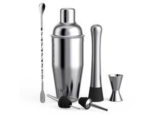 6pcs Cocktail Set Boston Shaker Mixer Stainless Steel Drink Making Tool Kit for Home Bar Use