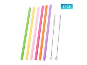 6PCS Reusable Silicone Drinking Straws with 2 Cleaning Brushes Long Flexible Straws BPA-Free Multicolor Drinking Straws for Party Restaurant