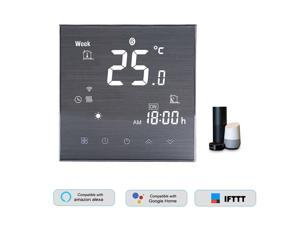 BTH-2000L-GCLW WiFi Smart Thermostat for Water/Gas Boiler Digital Temperature Controller Large LCD Display Touch Button Voice Control Compatible with Amazon Echo/Google Home/Tmall Genie/IFTTT 5A AC