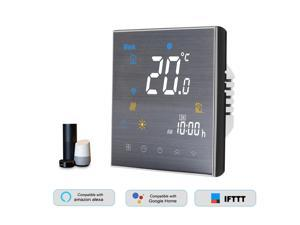 BTH-3000L-GBLW WiFi Smart Thermostat for Electric Heating Digital Temperature Controller Large LCD Display Touch Button Voice Control Compatible with Amazon Echo/Google Home/Tmall Genie/IFTTT 16A AC