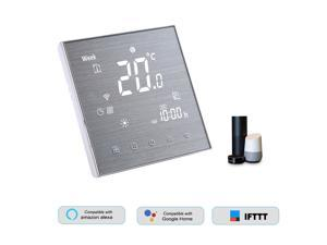 BTH-2000L-GBLW WiFi Smart Thermostat for Electric Heating Digital Temperature Controller Large LCD Display Touch Button Voice Control Compatible with Amazon Echo/Google Home/Tmall Genie/IFTTT 16A AC