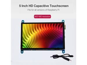 5 Inch HD Capacitive Touchscreen Display 800*480 Resolution Small Portable Monitor with USB HD Interface Compatible with Raspberry Pi Educational Tool