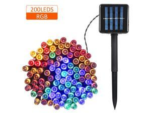 Solar Powered String Light 100/200 LEDs 2 Lighting Modes Christmas Lights IP65 Water-resistant Outdoor Hanging Fairy Lighting for Holiday Party Living Room Garden Patio