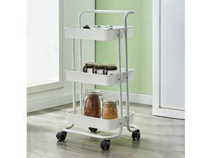 3-Tier Rolling Utility Cart Kitchen Trolley Rolling Storage Cart with Lockable Wheel and Handle Multifunction Heavy Duty for Kitchen Bathroom Office