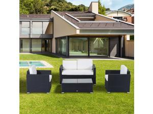 4-Piece Cushioned Outdoor Rattan Wicker Sofa Sectional Patio Furniture Set with 2 Chairs & Sectional and Glass Coffee Table - Black