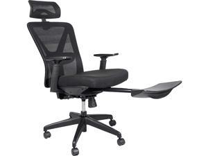 Reclining Office Chair - 300 LB Capacity Ergonomic Computer Mesh Recliner - Executive Swivel Office Desk Chair - Task Chair with Hidden Footrest and Lumbar Support (Black Footrest)