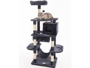 Cat Tree Condo Furniture Kitten Activity Tower Pet Kitty Play House with Scratching Posts Perch Hammock Tunnel Dark grey
