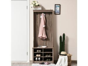 Coat Rack Wooden Hall Tree Storage Organizer Shoe Bench with Shoe Rack 3 Hooks for Hallway or Living Room - Brown