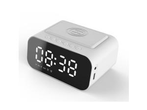 KKmoon BT Speaker LED Digital Clock Multifunctional Sound Box Wireless Charger Desk Clock FM Radio Wireless Charging Device Alarm Clock for Home Office Dormitory