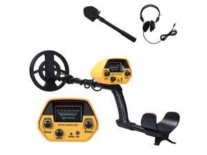 Metal Detector High Accuracy Adjustable Stem 7 Inch Waterproof Coil All Metal & Disc Modes with with Headphone & Folding Shovel Set for Underground Coins Relics Jewelry Beach Treasures