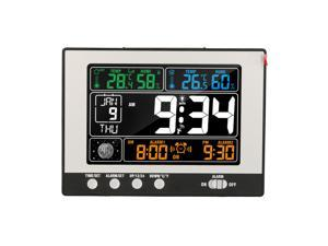 KKmoon Digital Multifunctional Clock & Thermo-Hygrometer Thermometer & Hygrometer RF Clock Large Color Display with Backlight with Perpetual Calendar Moon Phase Alarm and Snooze Indoor&Outdoor