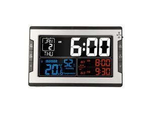KKmoon Digital Multifunctional Clock with Indoor Temperature Humidity Thermo-Hygrometer Thermometer & Hygrometer Large Color Display with Backlight with Perpetual Calendar Alarm and Snooze
