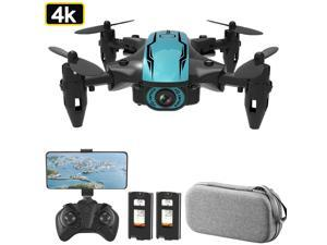 CS02 RC Drone with Camera 4K Wifi FPV Beginner Drone Mini Folding Quadcopter Toy for Kids Headless Mode Track Flight LED Lights Storage Bag