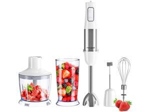 Immersion Hand Blender, Turbo for Finer Results, 5-in-1 Set Includes  500ml Food Grinder, BPA-Free, 600ml Container,Milk Frother,Egg Whisk, Detachable