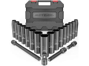 "Impact Socket Set, Meterk 1/2"" Drive Deep Impact Socket Set 20 PCS, 9-24 mm, 16 PCS Metric Sockets with 3/8"" to 1/2"" Socket Wrench Adapter and 3 PCS 1/2"" Drive Impact Extension Bar"