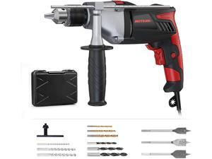 Hammer Drill, Meterk 1/2 inch Corded Drill 7.5Amp 2800RPM 950W, Impact Drill and Electric Drill with 12 Drill Bit Sets, Storage Case, Rotating Handle, Hammer and Drill 2 Mode in 1 for DIY