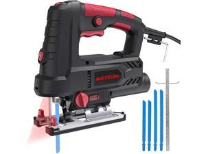 Jigsaw, Meterk Upgraded 800W 6.7 Amp 3000 SPM Jig Saw with Laser Guide & LED, 6 Variable Speed, 4PCS T-Shank Saw Blades, Scale Ruler, 78.74 Inches Cord, +/-45°Bevel Cutting Angle