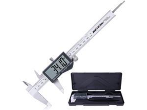 Meterk Digital Caliper 6 inch Measuring Tool, IP54 Waterproof Stainless Steel Vernier Caliper with Large LCD Screen, Inch/MM/Fraction for DIY Measurement and Jewelry Making