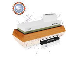 Sharpening Stone, Meterk Premium Whetstone Dual Side Grit 1000/6000 Knife Sharpener Stone with Non-slip Bamboo Base, Flattening Stone & Angle Guide, Sharpening Stone Set for Home & Kitchen