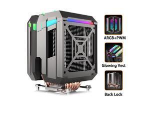 CPU Cooler ARGB,Air Cooler,42.97CFM,6 Copper Heatpipes ARGB Sync PC for AMD FM2/AMD4/Intel LGA2066/L1366/1156,127mm ARGB PWM Fan Blade,Computer Tower CPU Radiator PWM Temperature Control Silent Fan