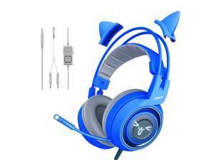 New Somic G952 BLUE headset cute cat ear Head-mounted 3.5MM gaming headphone universal noise reduction stereo earphone