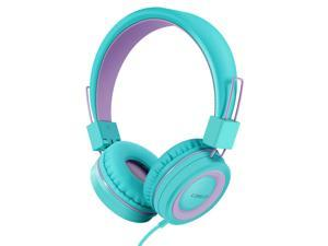 Kids Headphones for School Wired Headphones with Microphones & Volume Control,Foldable Adjustable Stereo Tangle-Free,3.5MM Jack Wire Cord On-Ear Headphone for Children/Boys/Girls(Mint)