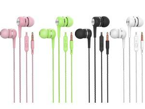 in-Ear Headphones with Microphone 4 Pack, in-Ear Wired Stereo Headset Earbuds, bass earplugs, Compatible iPhone and Android Smartphones, iPod, iPad, MP3 Players, Suitable for All 3.5 mm interfaces.