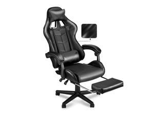 Ergonomic Home Office Chair,PC Computer Chair,Racing Style Gaming Chair with Retractable Footrest,Adjustable Seat Height and Recliner,Full Armrests,Headrest and Lumbar Support(Dark Black)