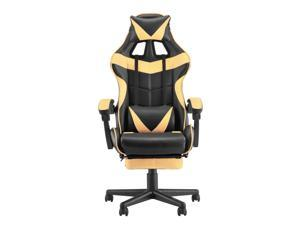 PC Gaming Chair,Ergonomic Office Chair with Retractable Footrest,Adjustable Headrest and Lumbar Support,Racing Chair for Gaming,Video Gaming Chair,E-Sports Chair (Gold)