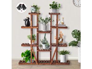 Plant Stands for Indoor Plants Wooden Plant Shelf for Multiple Plants for Outdoor Fir Wood Flower Stands for Living Room Balcony Bedroom Garden, Large