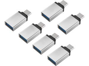VENCY Type C to USB Adapter,USB C (Male) to USB 3.0 (Female) Adapter OTG for MacBook Pro 2020 iPad Pro 2021 iPhone 11 12 Pro Samsung Notebook 9 and Other Type C Devices (Pack of 6, Silver)