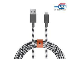 Native Union Belt Cable XL USB-C to USB-A - 10ft Ultra-Strong Charging Cable with Leather Strap Compatible with Samsung Z Flip3, Z Fold3, Google Pixel 5, iPad Pro, iPad Air 4, iPad Mini 2021 (Zebra)