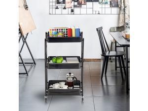 Foldable Storage Cart, 3 Tier Metal Rolling Cart Utility Cart Foldable Bar Cart Instant Use Folding Metal Storage Push Cart for Office Kitchen (Black)