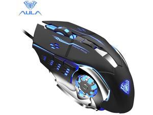 Aula S20 USB Wired Gaming Mouse Programmable 2400DPI Optical Ergonomic Mouse with 4-Color Breathing Light for PC Laptop Black