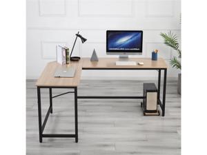 L-Shaped Desk Computer Corner Desk, Office Desks, Home Desk with Moveable Shelf, Space-Saving, Easy to Assemble,Wood Color