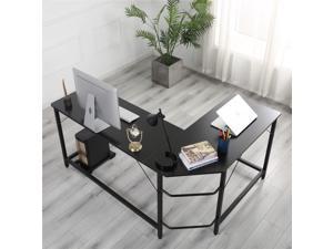 L-Shaped Desk Computer Corner Desk, Office Desks, Home Desk with Moveable Shelf, Space-Saving, Easy to Assemble,Black
