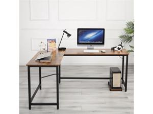 L-Shaped Desk Computer Corner Desk, Office Desks, Home Desk with Moveable Shelf, Space-Saving, Easy to Assemble,Woodgrain