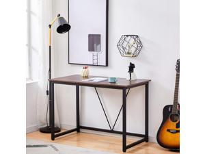 """Computer Desk 43.3"""" Home Oiffce Desk Small Writing Study Table Modern Simple Style with Metal Frame,Black&Walnut"""