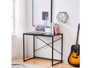 Computer Desk 35.4 Inch Small Desk for Small Spaces Modern Simple Writing Desk for Home Office Study Desk with Stainless Steel Frame, Sturdy and Stable, Black