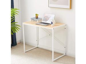 Computer Desk 35.4 Inch Small Desk for Small Spaces Modern Simple Writing Desk for Home Office Study Desk with Stainless Steel Frame, Sturdy and Stable, White+Wood