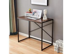 Computer Desk 35.4 Inch Small Desk for Small Spaces Modern Simple Writing Desk for Home Office Study Desk with Stainless Steel Frame, Sturdy and Stable, Black+Walnut