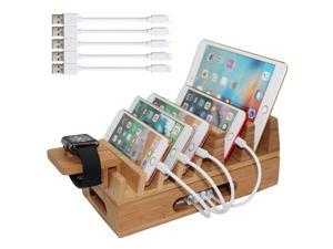Bamboo Charging Station Organizer for Multiple Devices & Wood Desktop Docking Charging Stand Such As Cell Phone, Tablets, Phone Case and Watch Stand - Pezin & Hulin