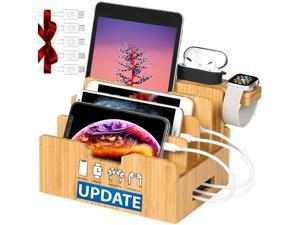 Bamboo Charging Station for Multiple Devices with Integrated iWatch5 & AirPods Pro Stand, Desktop Charging Docking Station Organizer for iPhone 12, Tablet, 5 Charging Cables Included(No Power Supply)