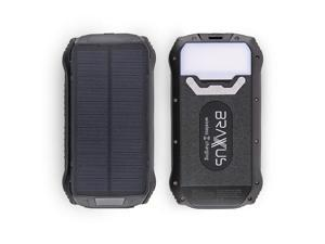 Braxus Solar Battery Pack - 26,800mAh - Portable Solar Phone Charger - Wireless Solar Cell Phone Charger - 4 outputs - Fast Charge - Solar Charger Power Bank - 3 LED Light Settings - IPX7 Waterproof &