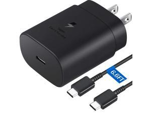 USB C Wall Charger, 25W PD Fast Charger and 6.6 FT USB C to USB C Fast Charging Cable for Samsung Galaxy S20/S20+/S20 Ultra/Note10/Note20/plus/S10 5G,2018 iPad Pro 11/12.9,2020 iPad Pro 11/12.9