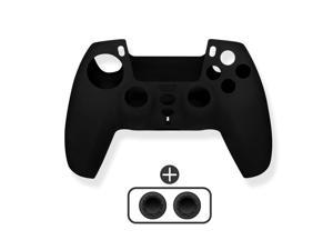 PS5 Controller Cover Skin Protector,Soft and Anti-Slip Untra-Thin Silicone Skin with Thumb Grips Cases for Playstation 5(Black)