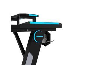 Gaming Desk, Z-Shaped Professional E-Sport Gamer Workstation with LED Lights & Large Carbon Fiber Surface, Ergonomic PC Gaming Table for Home Office