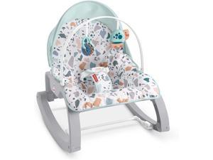 Fisher-Price Deluxe Infant-to-Toddler Rocker Pacific Pebble, portable baby seat for soothing, feeding, and playing