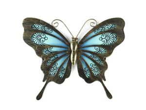 Liffy Metal & Glass Butterfly Wall Decor hanging sculpture for patio, porch
