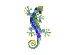 Liffy Metal & Glass Gecko Wall Decor hanging sculpture for patio, porch, room